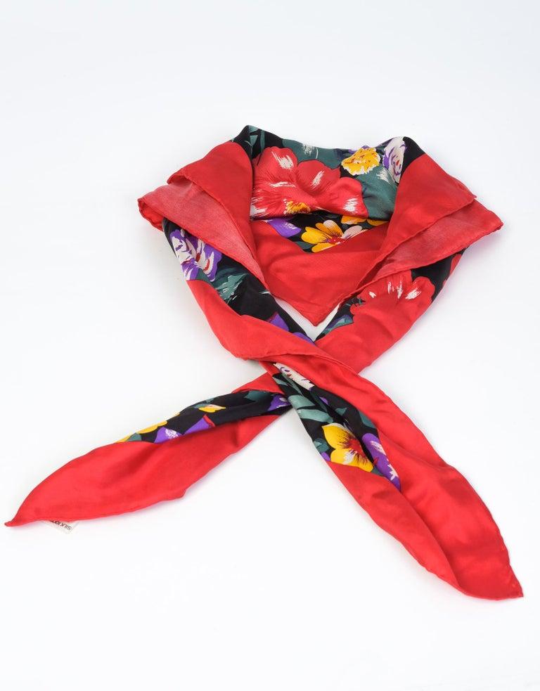 Red Bill Blass Floral Spring Silk Square Neckerchief  For Sale