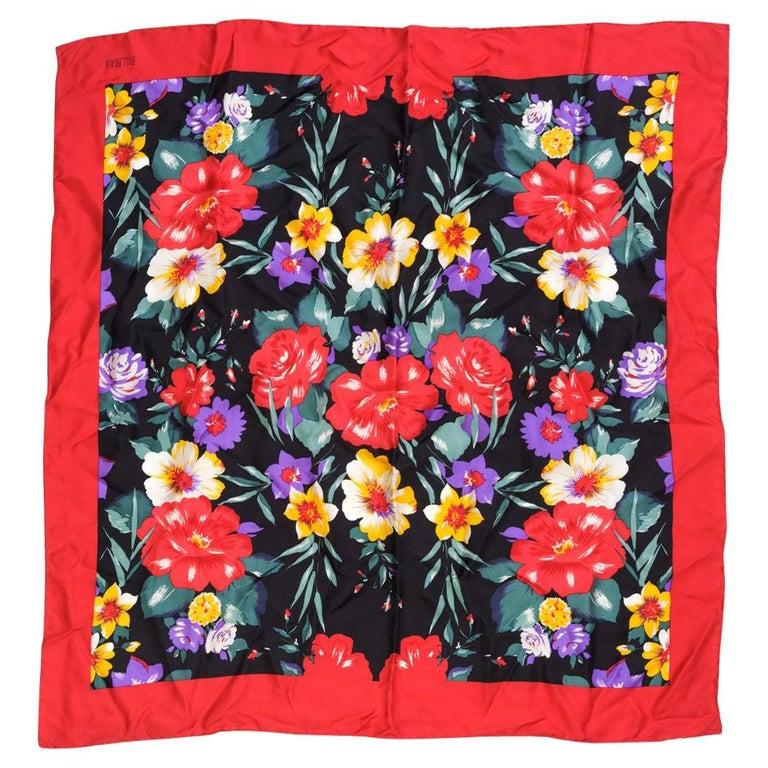 Bill Blass Floral Spring Silk Square Neckerchief  For Sale