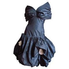 Bill Blass Flower Applique Silk Dress 1980s