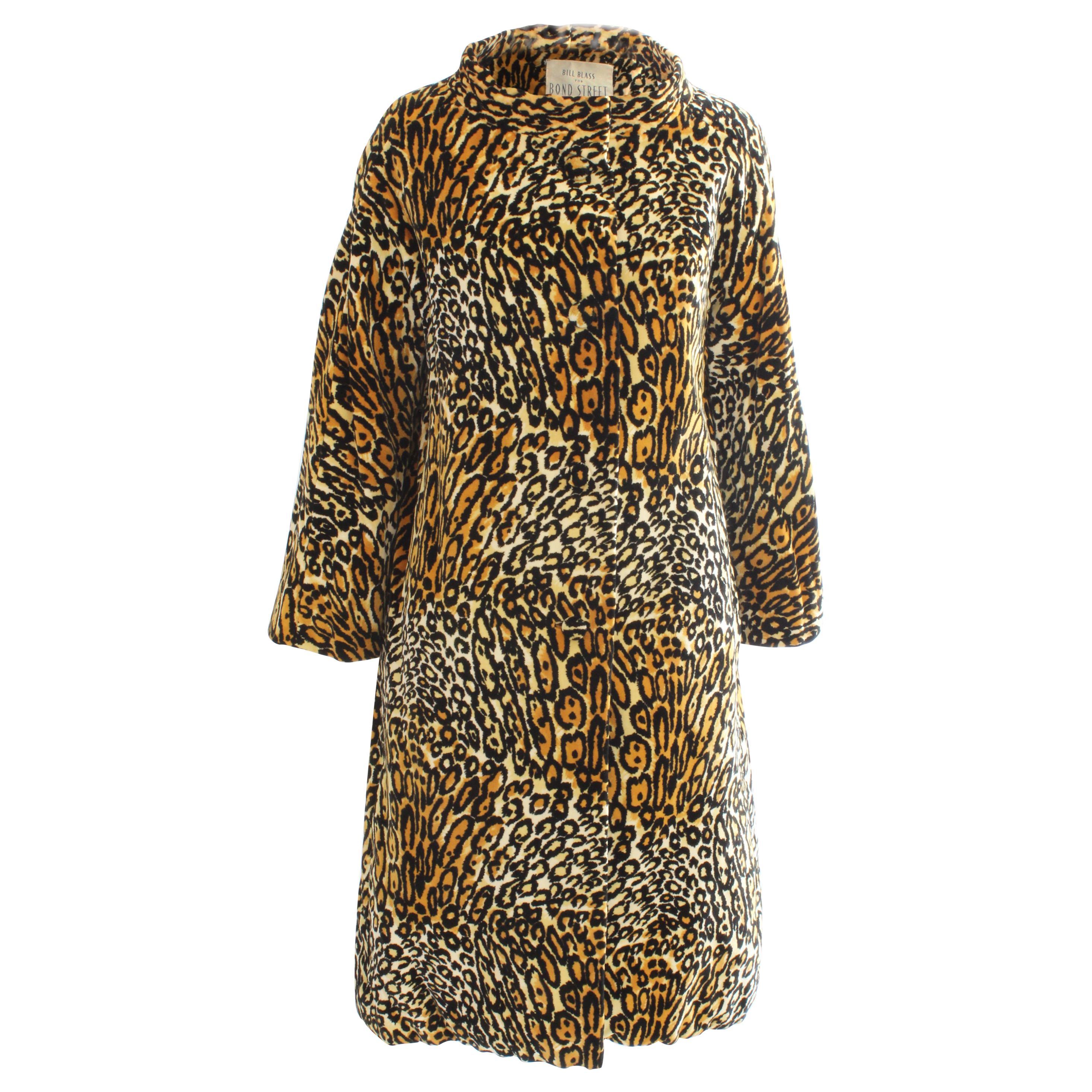 Bill Blass for Bond Street Velvet Leopard Print Coat 1970s Sz M