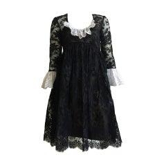 Bill Blass for Maurice Renter Bonwit Teller 60s Lace Evening Dress Size 6.