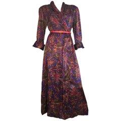 Bill Blass for Neiman Marcus 1980s Paisley Wrap Dress with Pockets Size Medium.
