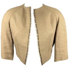 BILL BLASS for SAKS FIFTH AVENUE Size 6 Beige Textured Cropped Open Front Jacket