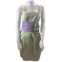 Bill Blass Green and Purple Plaid Dress