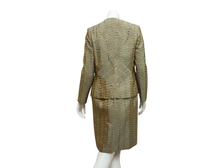 Gray Bill Blass Green & Blue Textured Jacket & Dress Set For Sale