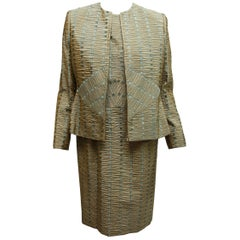 Bill Blass Green & Blue Textured Jacket & Dress Set