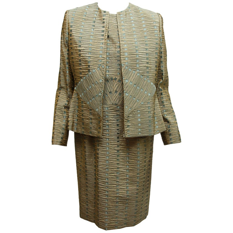 Bill Blass Green & Blue Textured Jacket & Dress Set For Sale