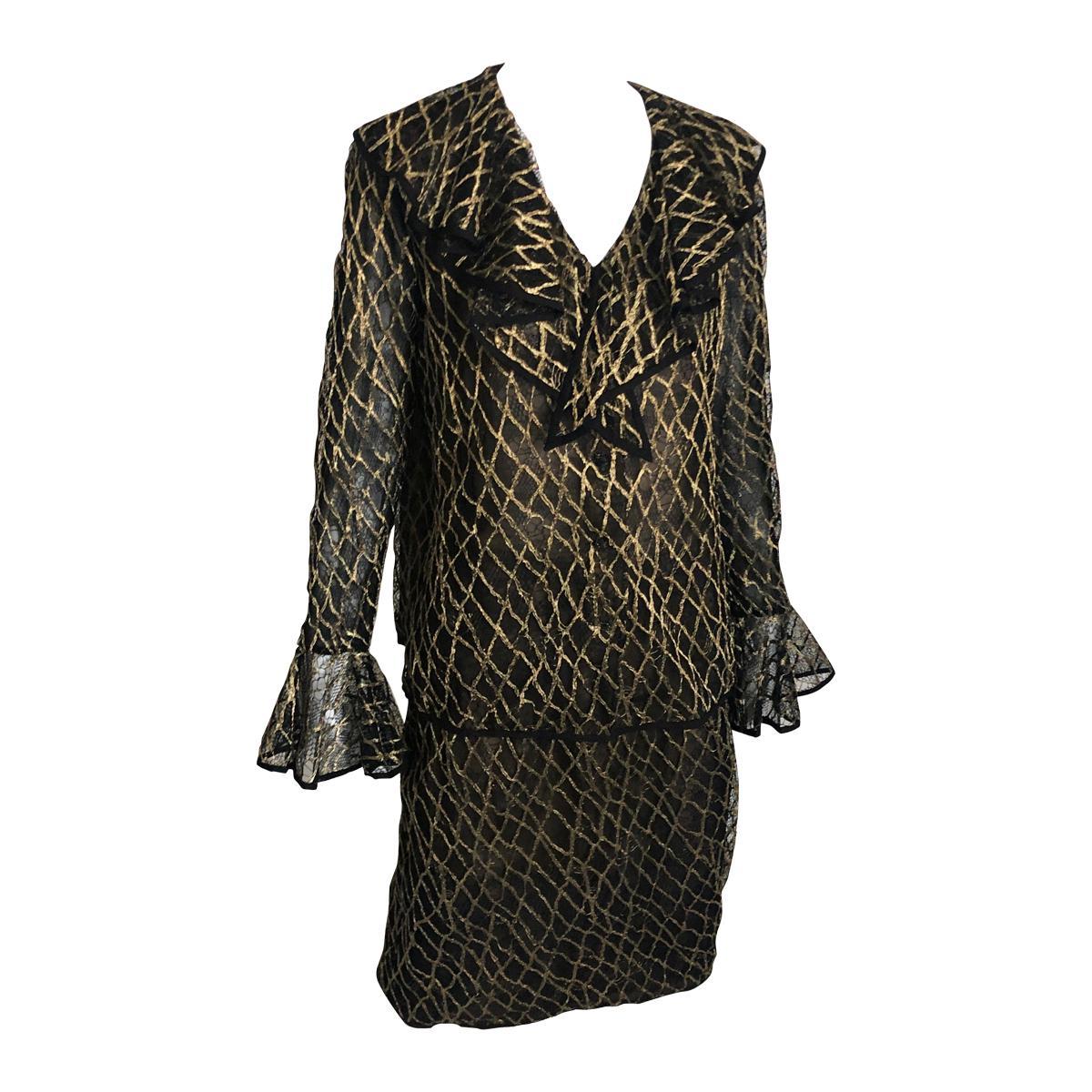Bill Blass Jacket & Skirt Set 2pc Illusion Lace Bell Sleeve Vintage Size 12