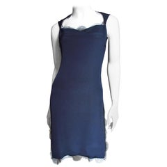 Bill Blass Lace Trim Navy Silk Dress 1990s
