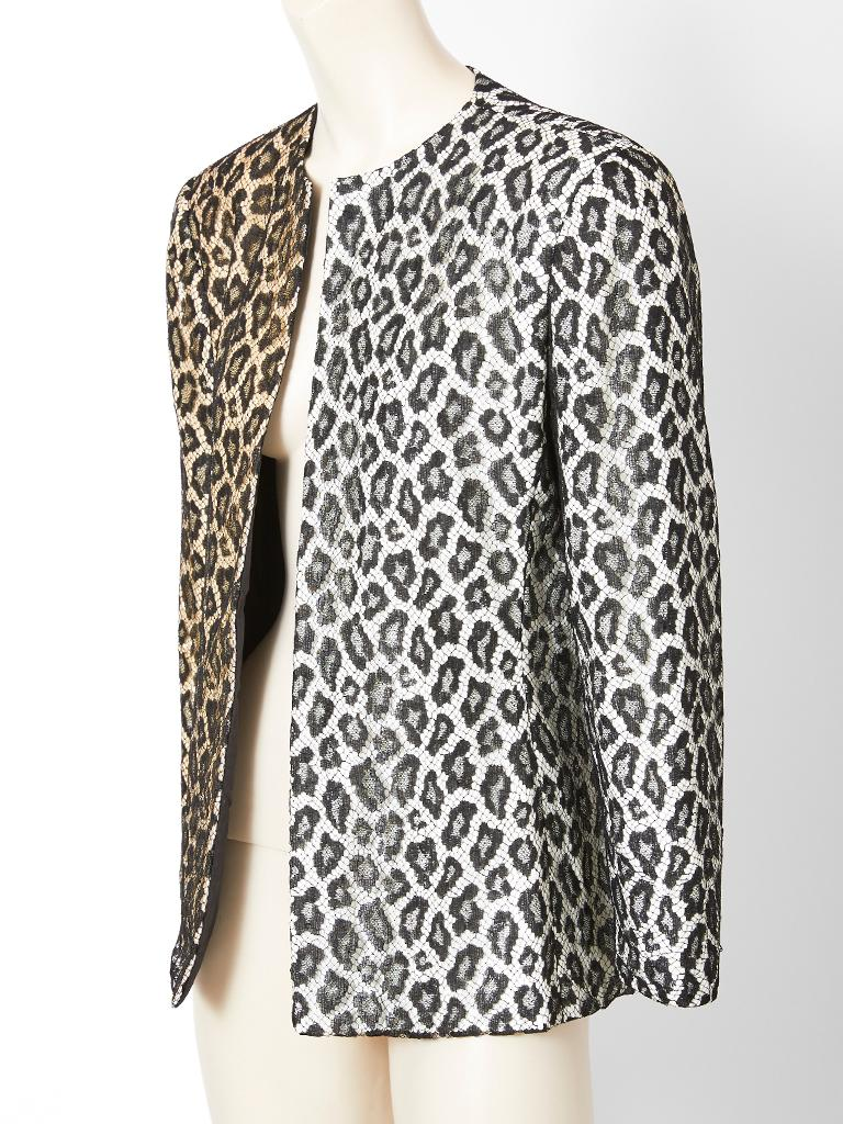 Gray Bill Blass  Leopard Pattern Lace and Sequined Evening Cardigan For Sale