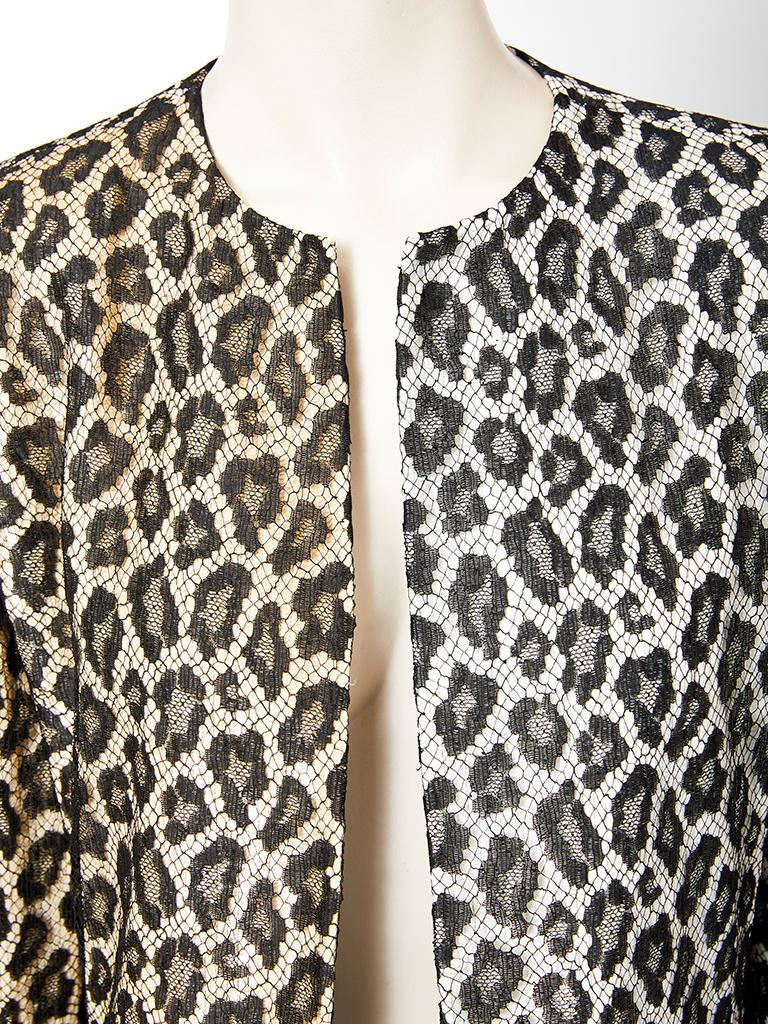Bill Blass  Leopard Pattern Lace and Sequined Evening Cardigan In Good Condition For Sale In New York, NY