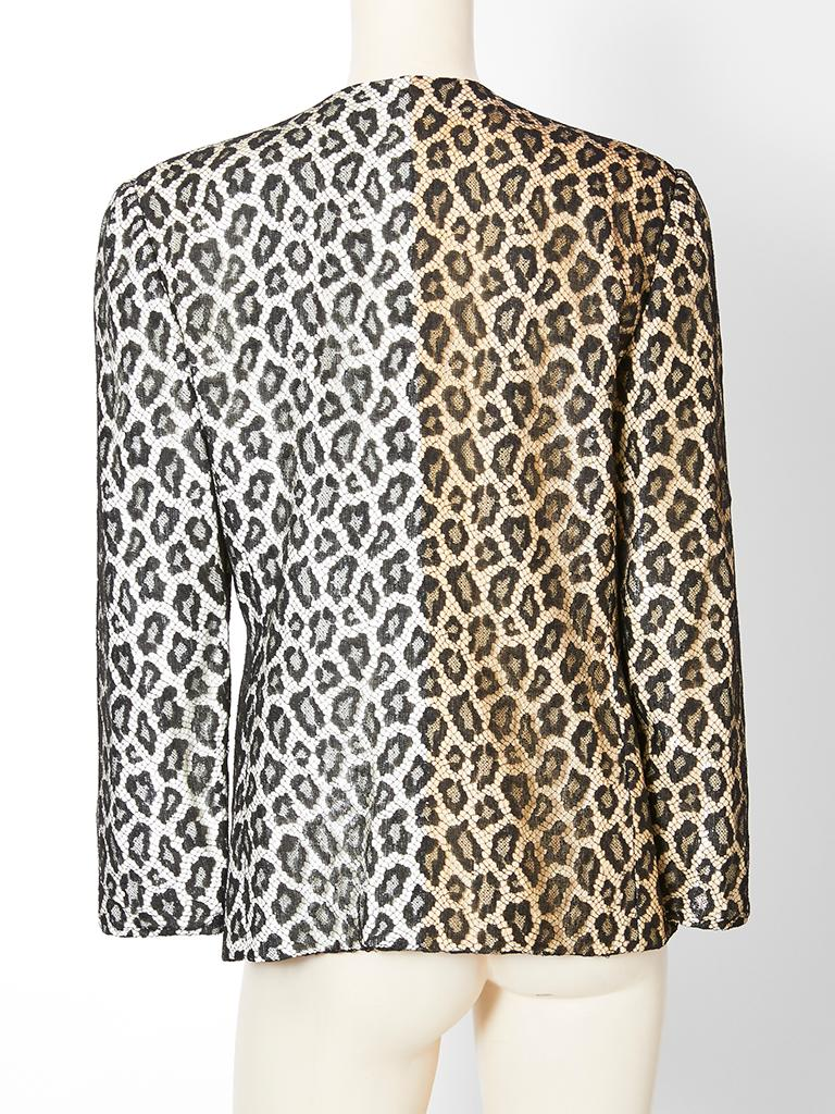 Bill Blass  Leopard Pattern Lace and Sequined Evening Cardigan For Sale 1