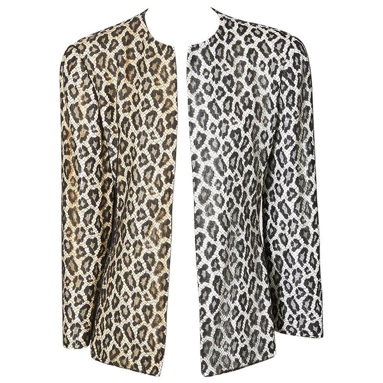 Bill Blass  Leopard Pattern Lace and Sequined Evening Cardigan For Sale