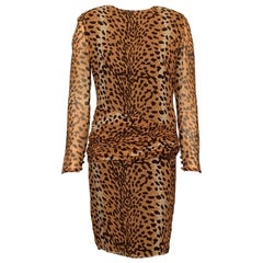 Bill Blass Leopard Print Sheer Silk Chiffon Cocktails and Dinner Dress