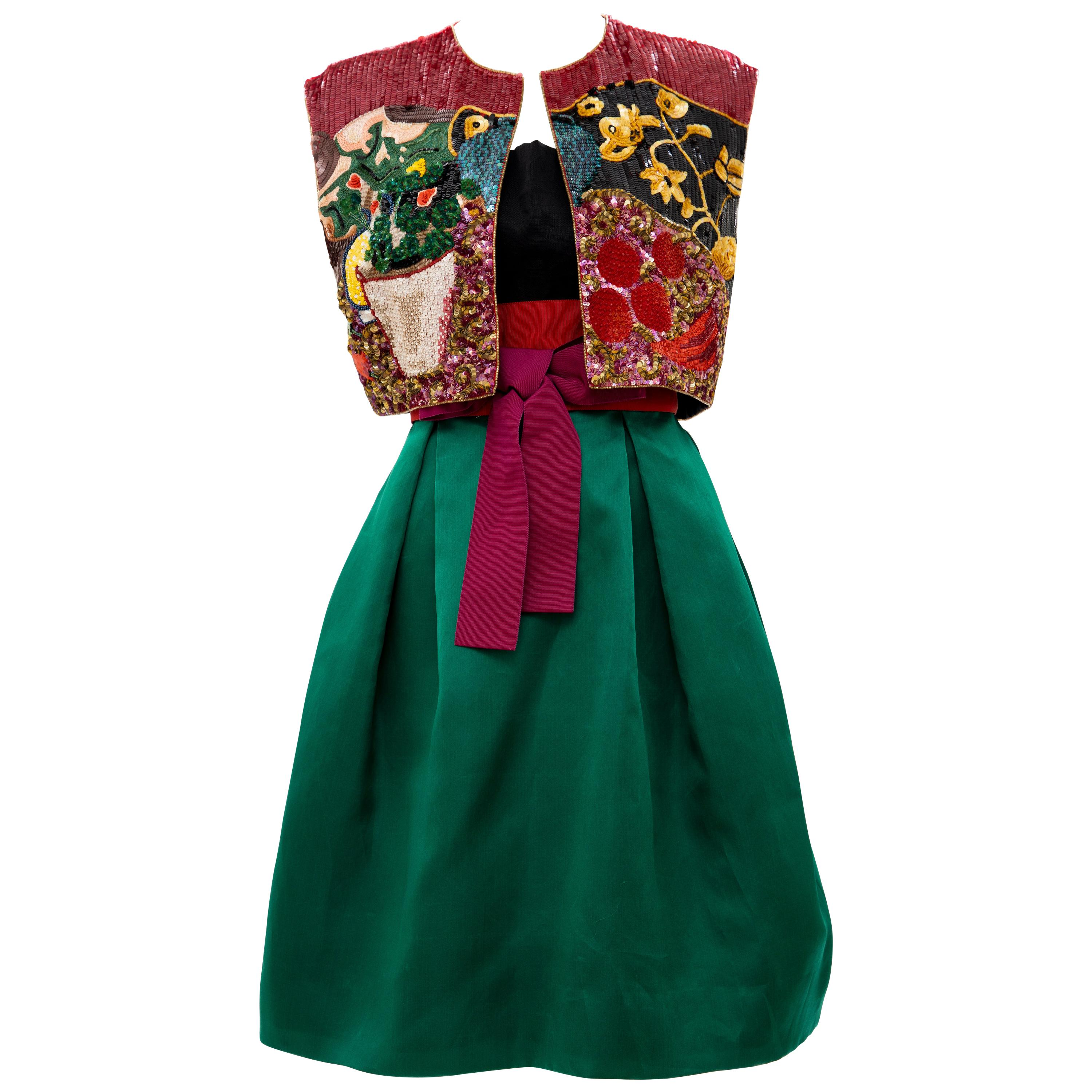 Bill Blass Matisse Inspired Embroidered Sequined Dress Ensemble, Spring 1988