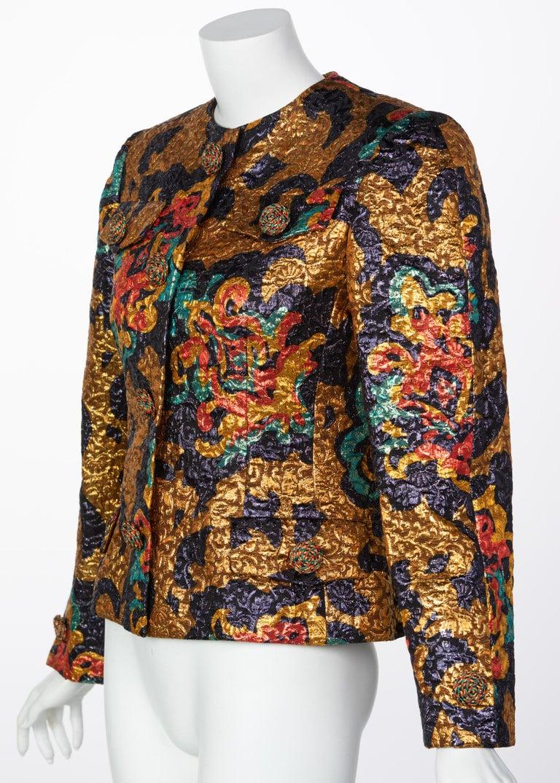 Brown Bill Blass Metallic Brocade Jacket, 1990s For Sale