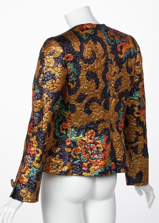 Bill Blass Metallic Brocade Jacket, 1990s In Excellent Condition For Sale In Boca Raton, FL