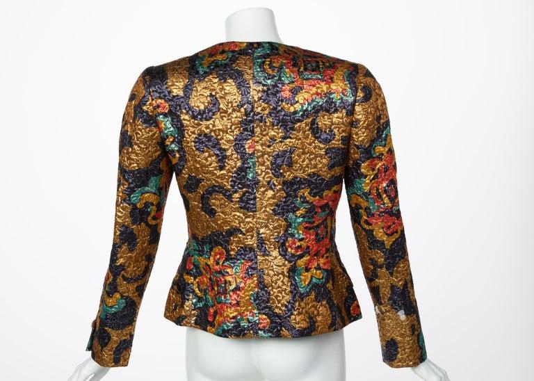 Women's or Men's Bill Blass Metallic Brocade Jacket, 1990s For Sale