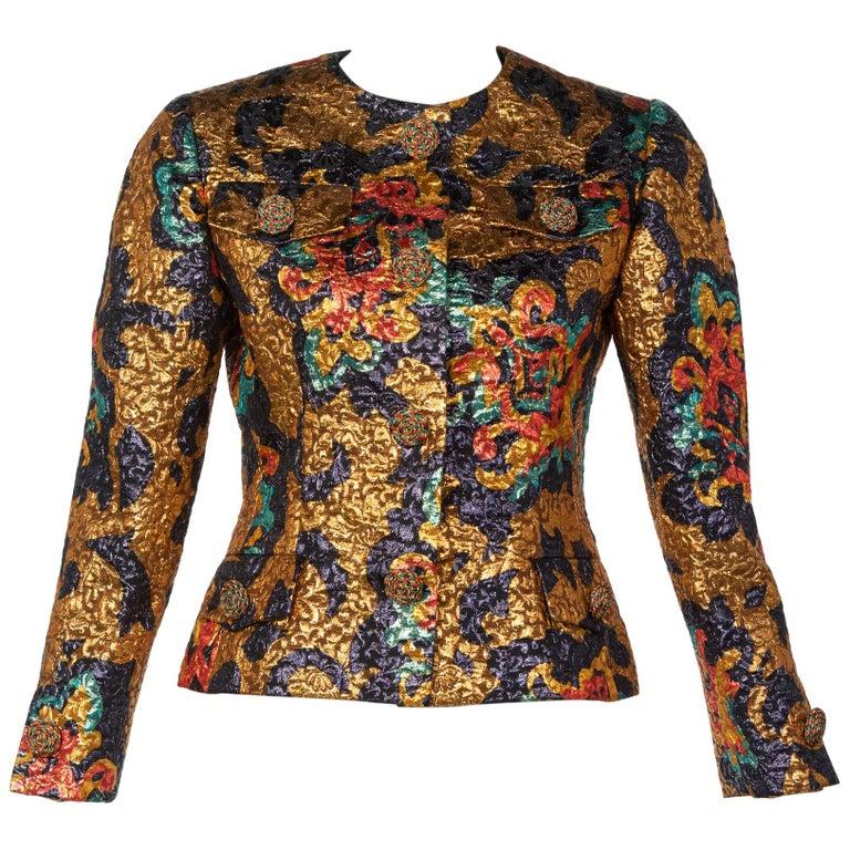 Bill Blass Metallic Brocade Jacket, 1990s For Sale