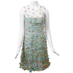 Bill Blass Pastel Cocktail Dress with Embroidered Cage