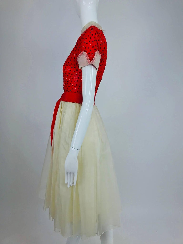 Bill Blass red and white sequined organza party dress 1980s For Sale 5