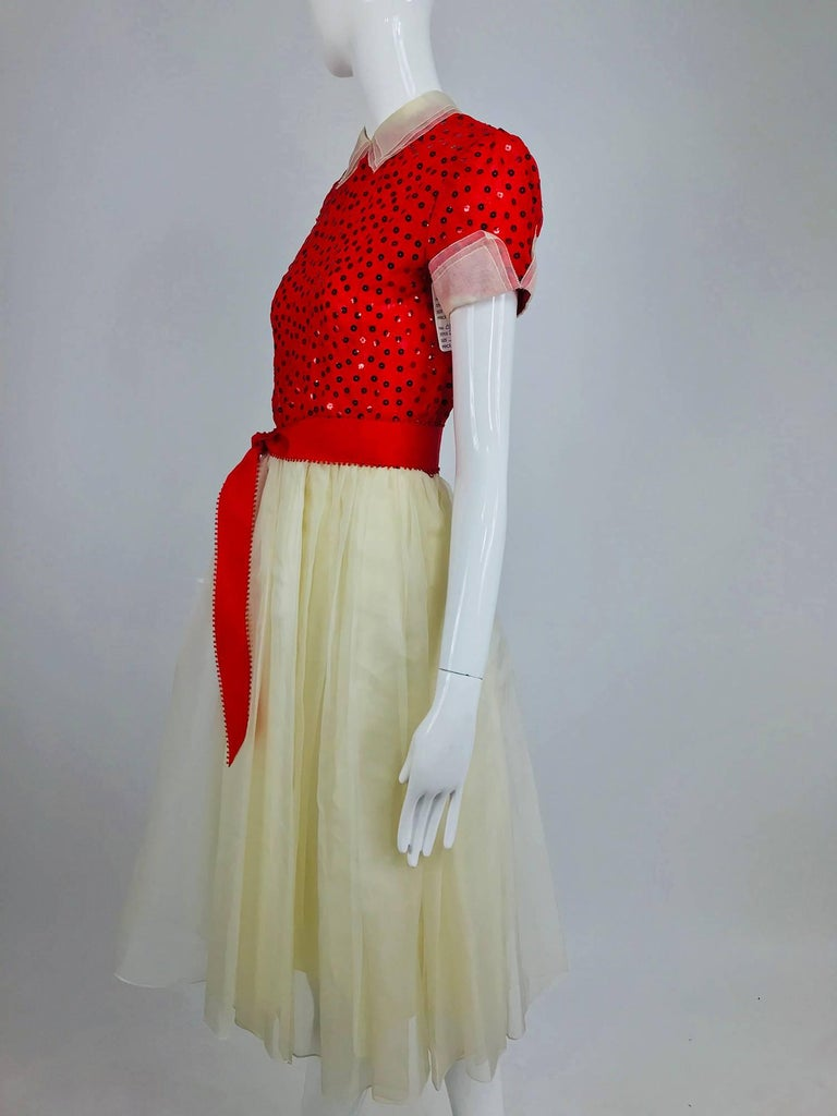 Bill Blass red and white sequined organza party dress 1980s For Sale 6