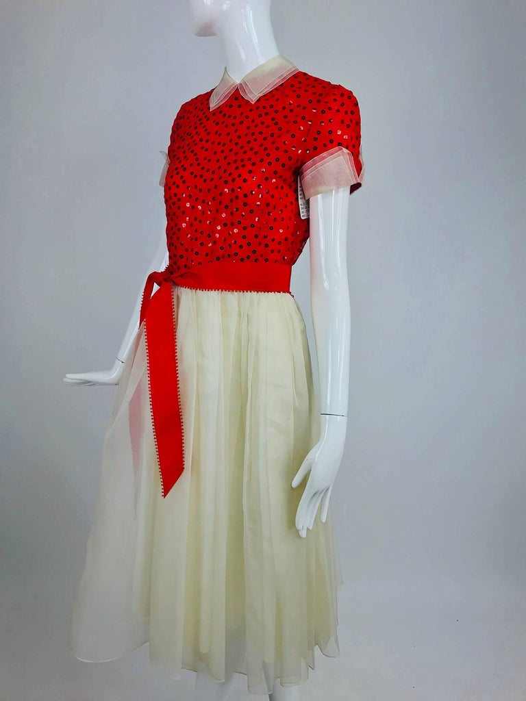 Bill Blass red and white sequined organza party dress 1980s For Sale 7