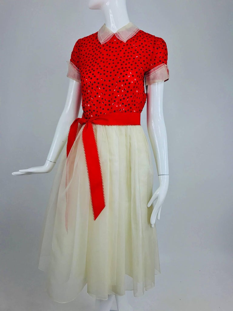 Bill Blass red and white sequined organza party dress 1980s For Sale 8