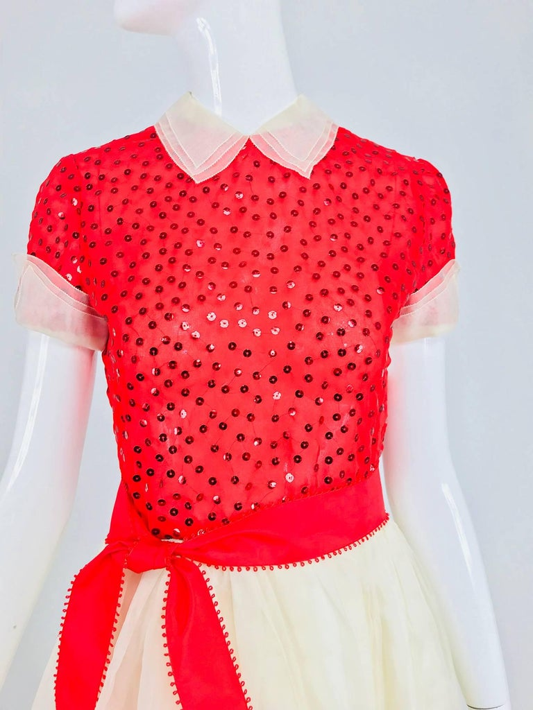Bill Blass red and white sequined organza party dress 1980s For Sale 9