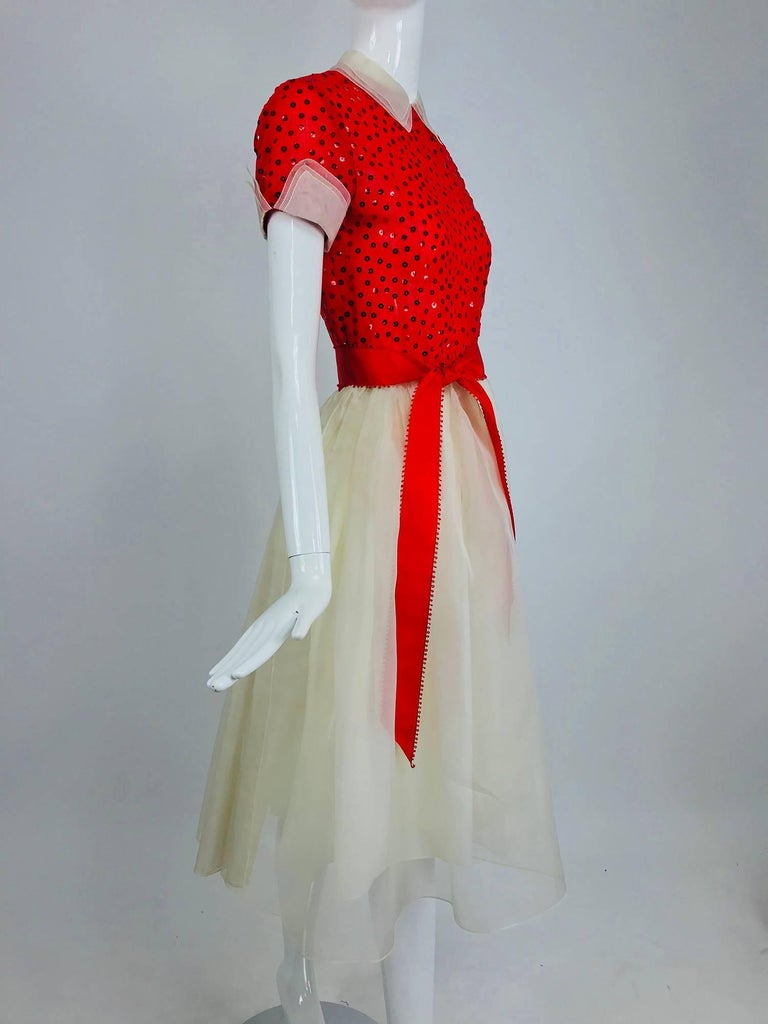 Gray Bill Blass red and white sequined organza party dress 1980s For Sale