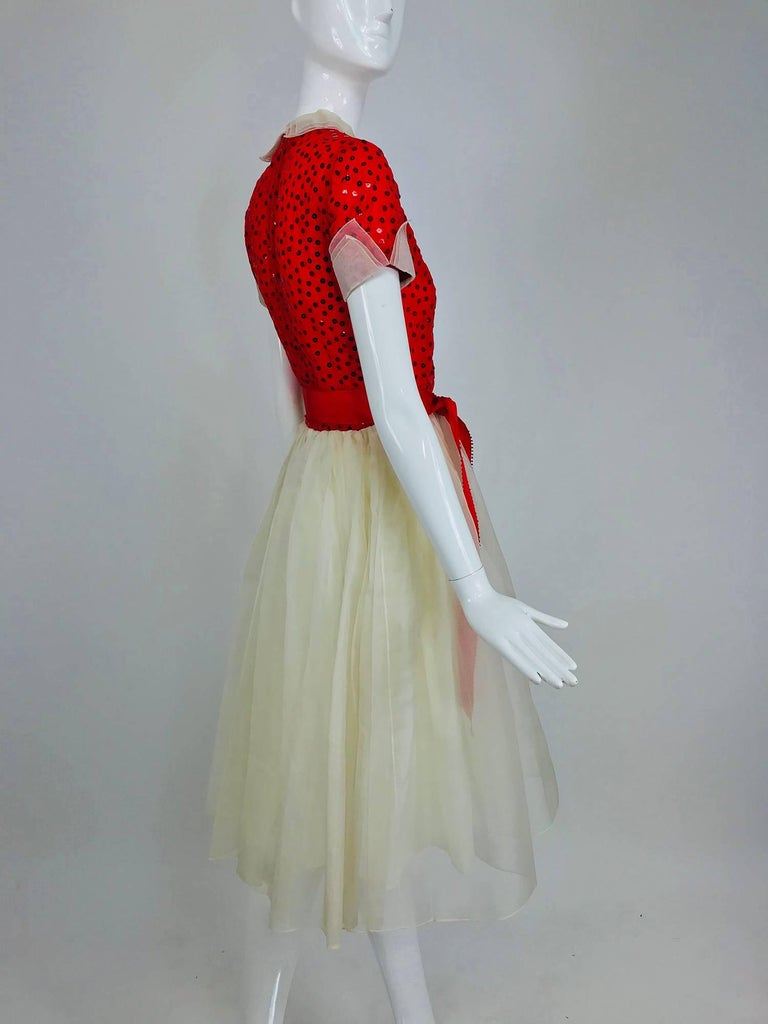 Women's Bill Blass red and white sequined organza party dress 1980s For Sale
