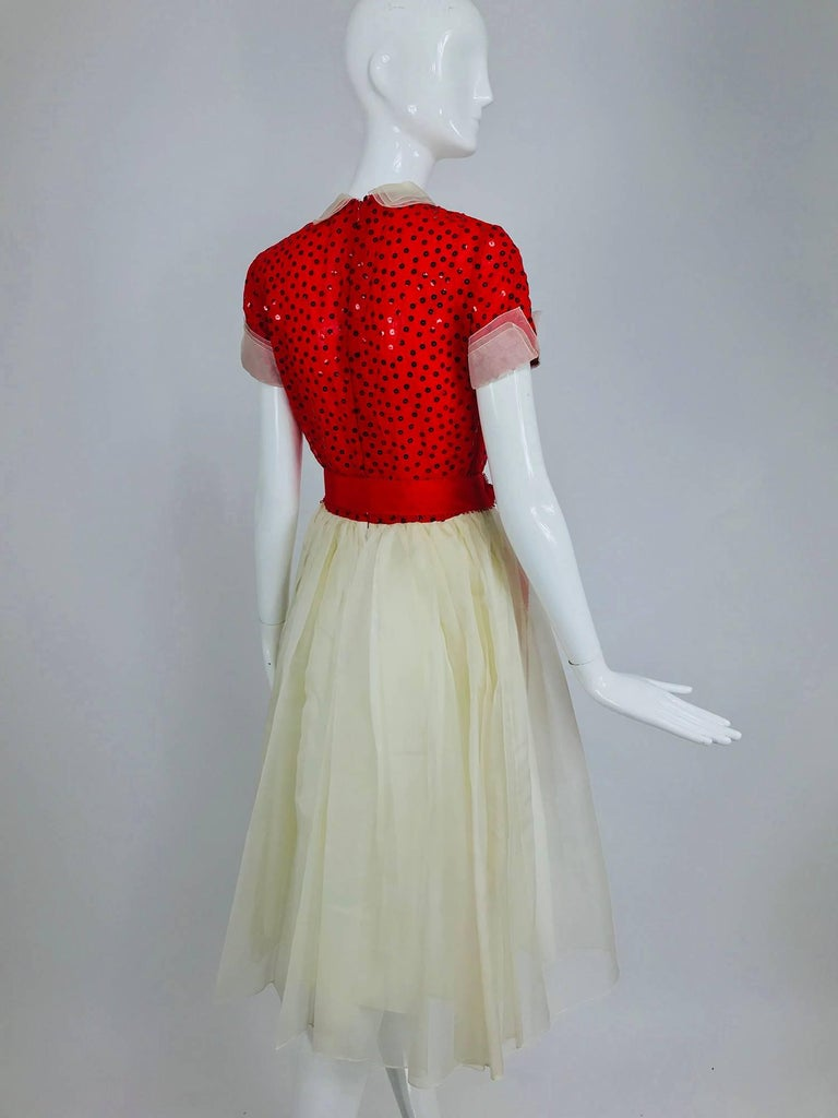 Bill Blass red and white sequined organza party dress 1980s For Sale 1