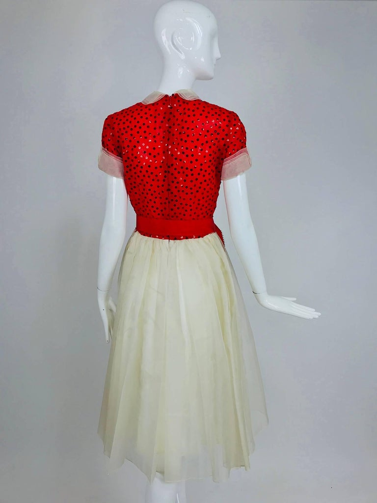 Bill Blass red and white sequined organza party dress 1980s For Sale 2