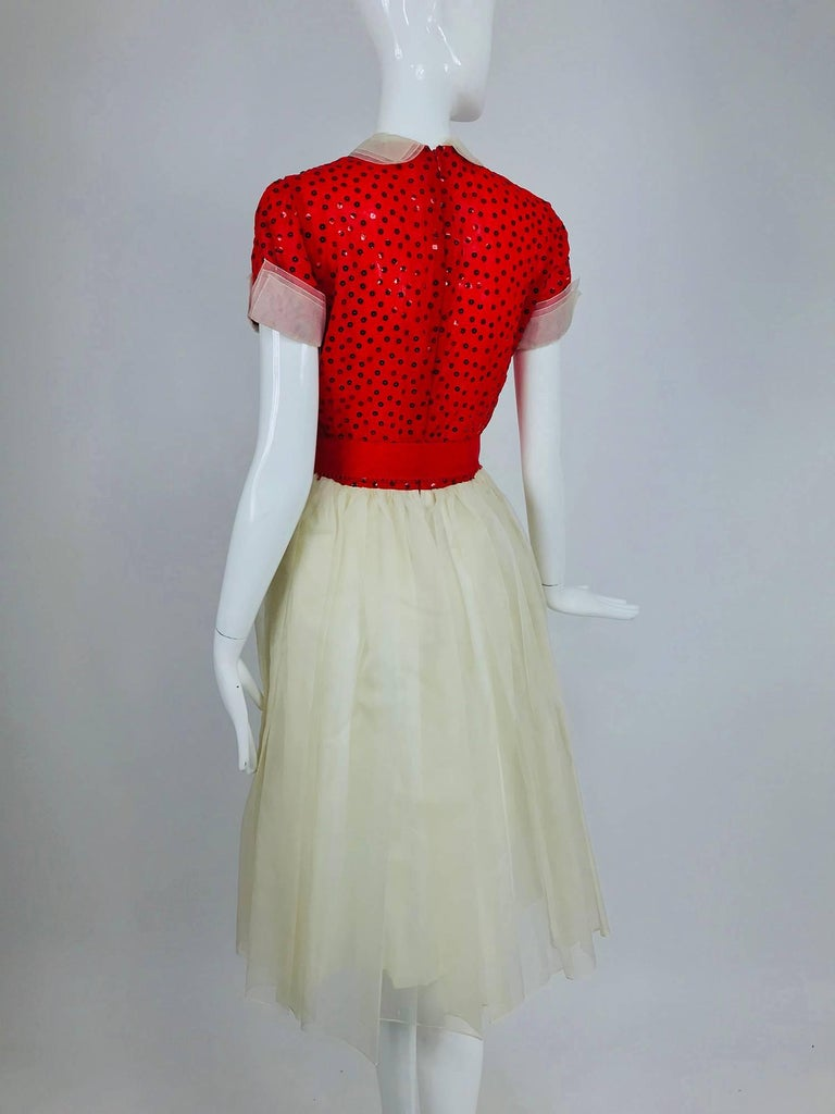 Bill Blass red and white sequined organza party dress 1980s For Sale 3
