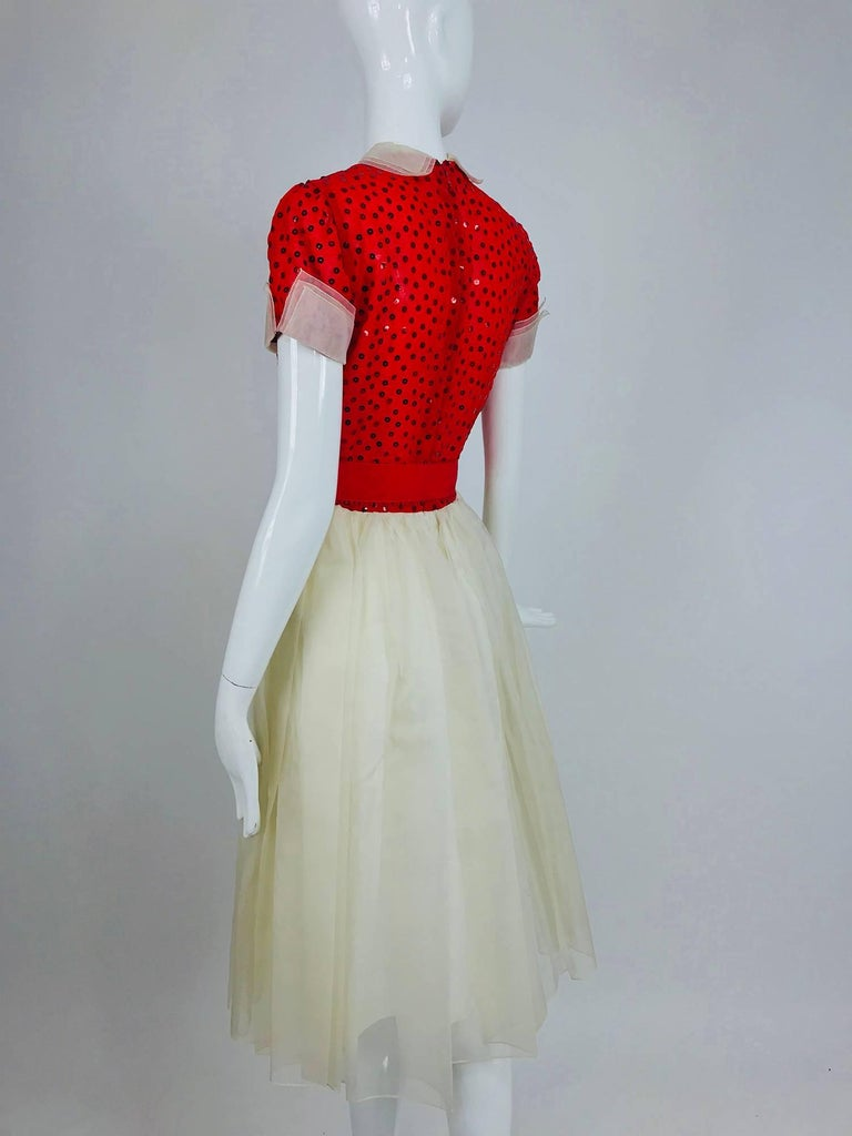 Bill Blass red and white sequined organza party dress 1980s For Sale 4