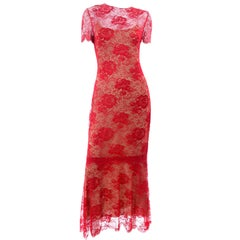 Bill Blass Red Lace Vintage Long Evening Runway Dress Spring Summer 1997