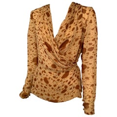 Bill Blass Silk Chiffon Wrap Blouse Abstract Animal Print in Shades of Camel