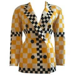 Bill Blass Taxi Checkered Print Blazer