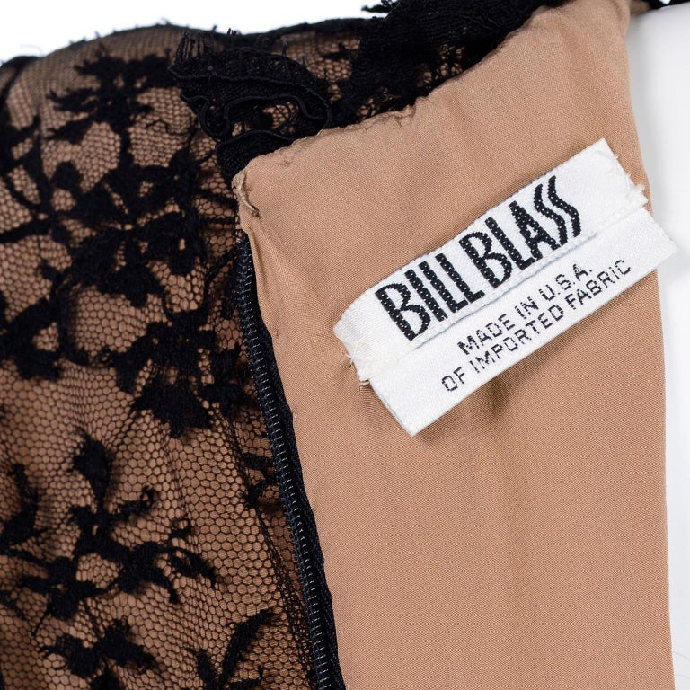Bill Blass Vintage Black Lace Over Peach Tan Silk Evening Dress With Back Bow For Sale 7