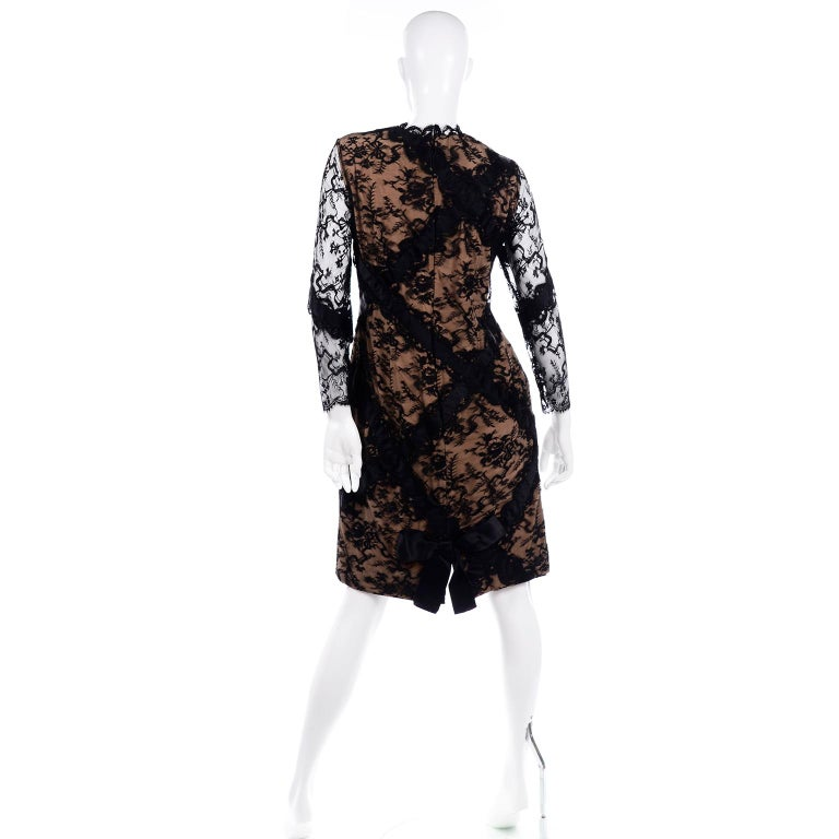 Bill Blass Vintage Black Lace Over Peach Tan Silk Evening Dress With Back Bow For Sale 1