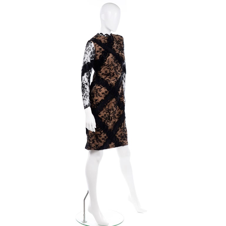 Bill Blass Vintage Black Lace Over Peach Tan Silk Evening Dress With Back Bow For Sale 2