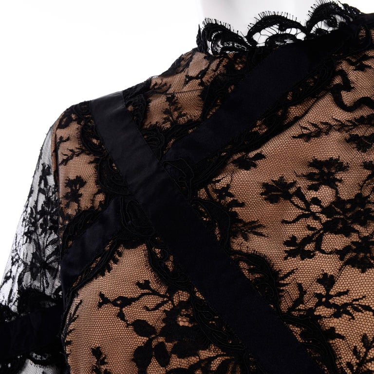 Bill Blass Vintage Black Lace Over Peach Tan Silk Evening Dress With Back Bow For Sale 4