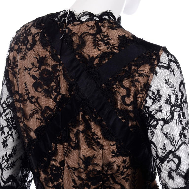 Bill Blass Vintage Black Lace Over Peach Tan Silk Evening Dress With Back Bow For Sale 5