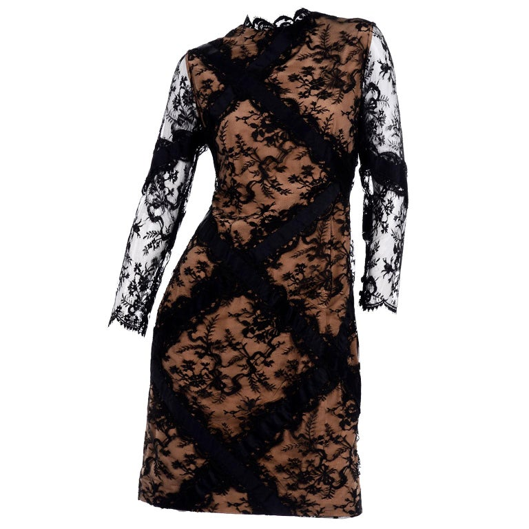 Bill Blass Vintage Black Lace Over Peach Tan Silk Evening Dress With Back Bow For Sale