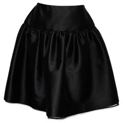 Bill Blass Vintage Black Satin Gathered Skirt