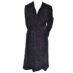 Bill Blass Vintage Coat in Black Flocked Velvet With Pockets and Belt