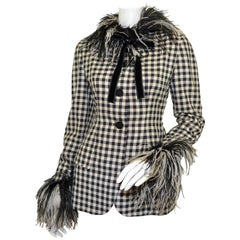 Bill Blass Vintage Gingham Jacket with Feather Collar & Cuffs