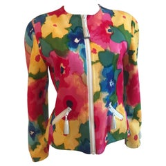 Bill Blass Watercolor Floral Jacket With Leather Tassel Detailing