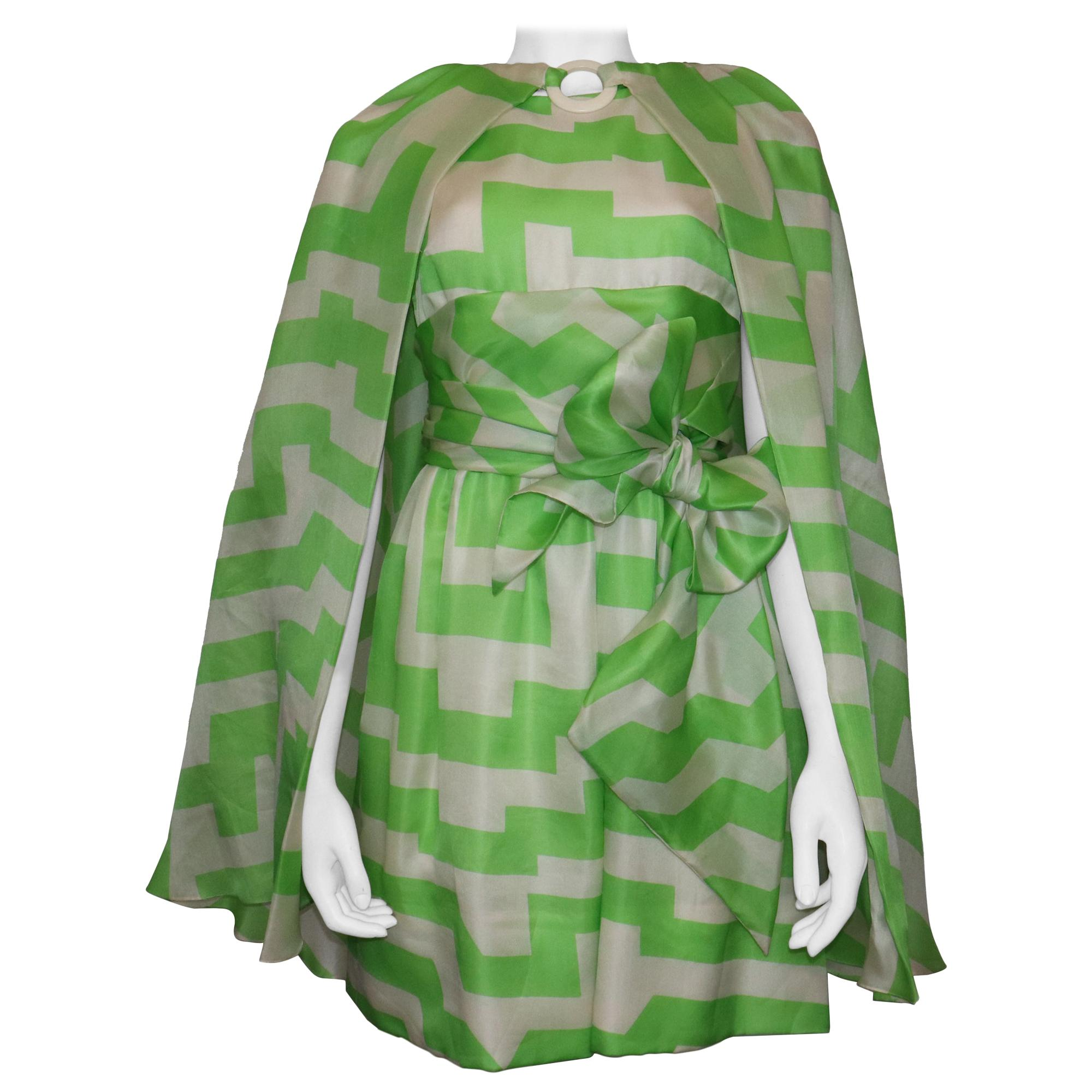 Bill Blass White & Green Silk 2 PC Dress Circa 1960s