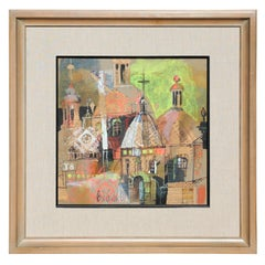 Colorful Abstract Impressionist Church Steeples Landscape Mixed Media Collage
